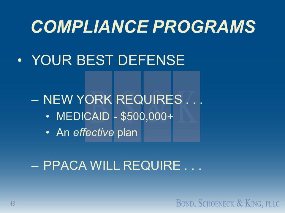COMPLIANCE PROGRAMS YOUR BEST DEFENSE NEW YORK REQUIRES . . .