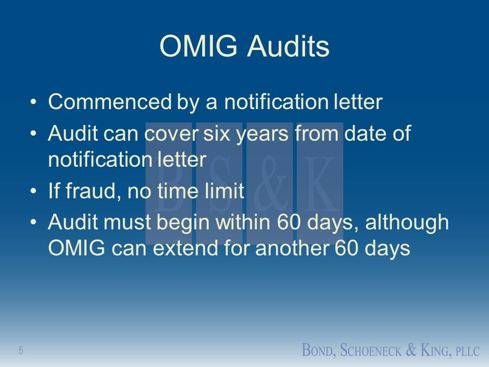 OMIG Audits Commenced by a notification letter