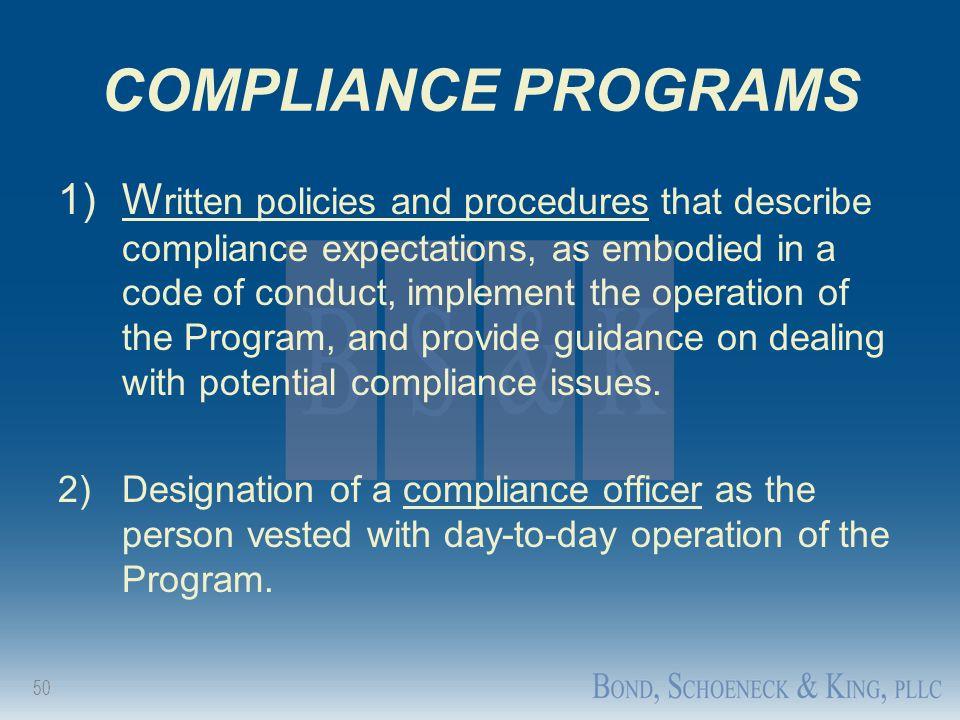 COMPLIANCE PROGRAMS