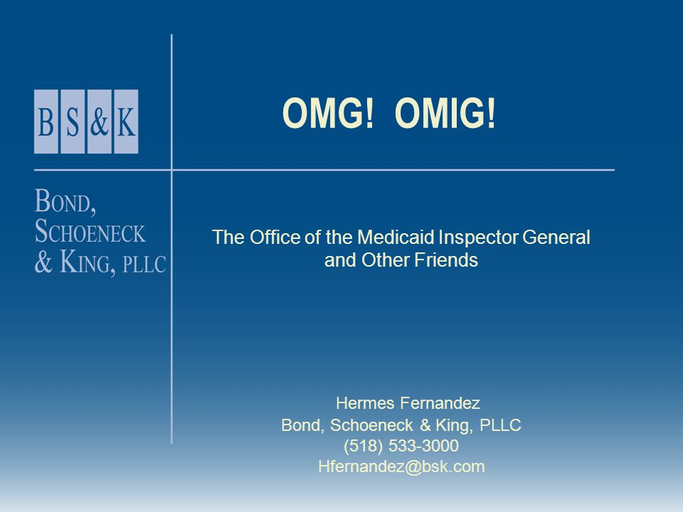 The Office of the Medicaid Inspector General and Other Friends