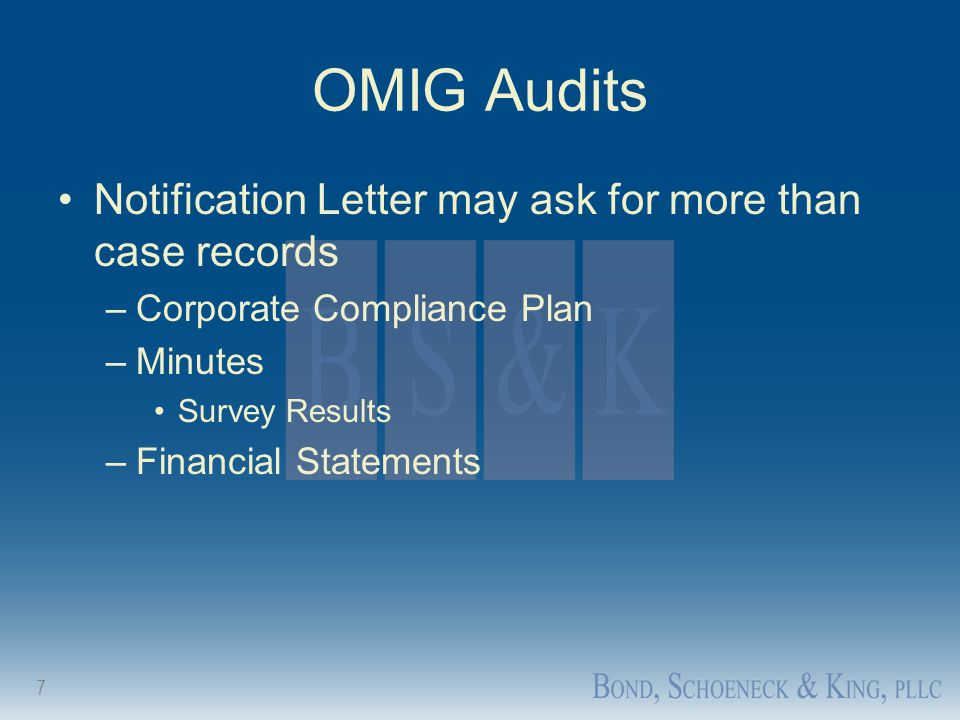 OMIG Audits Notification Letter may ask for more than case records