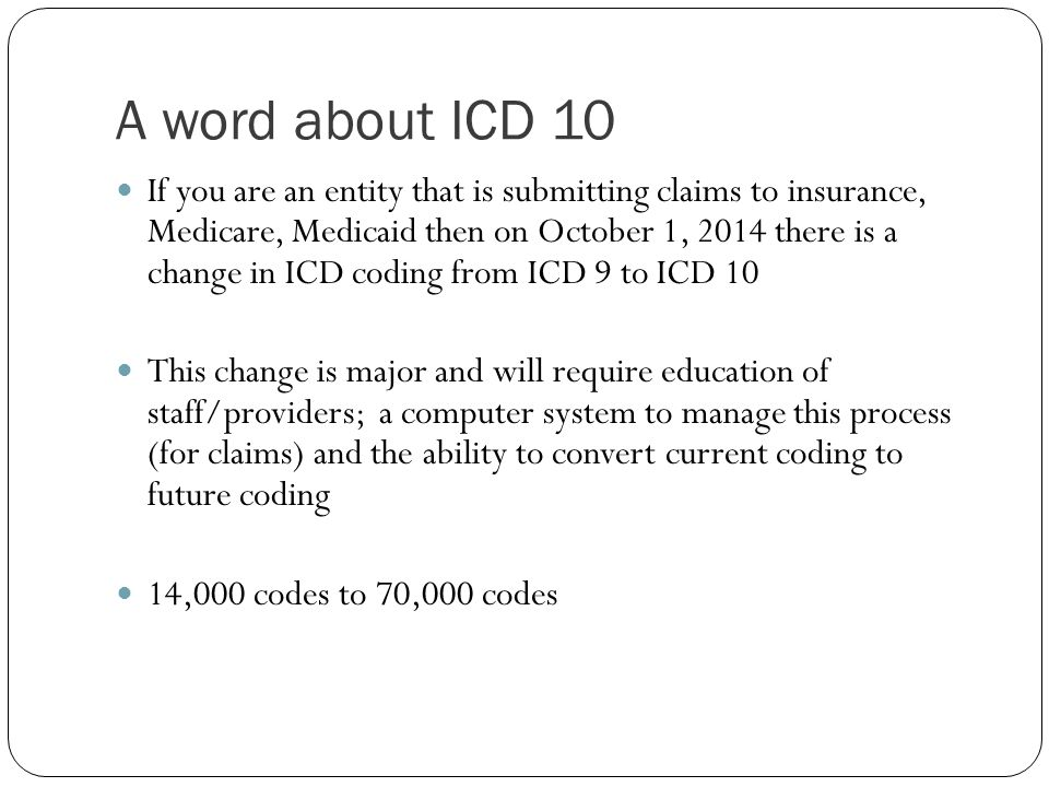 A word about ICD 10