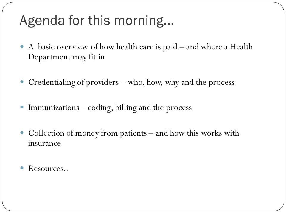 Agenda for this morning…