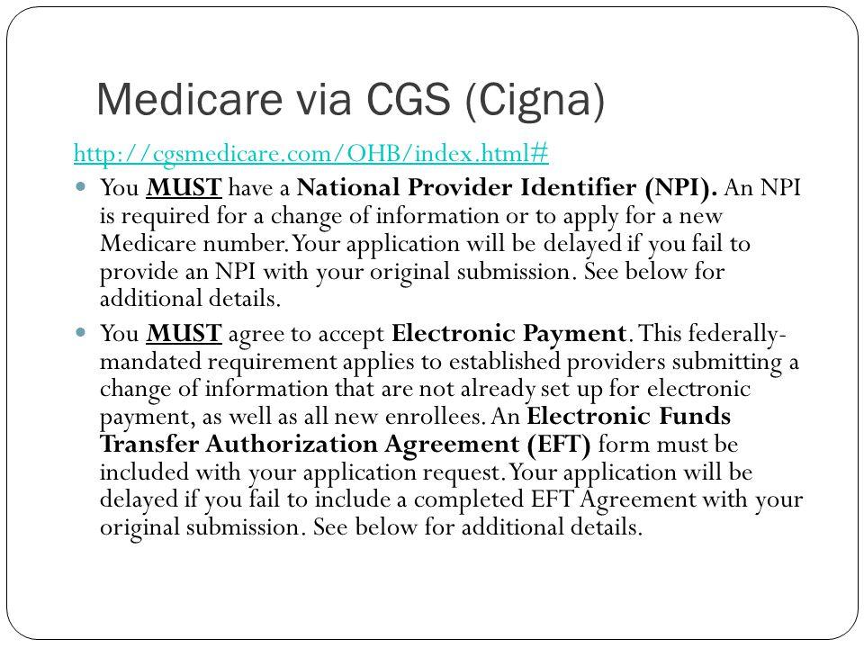 Medicare via CGS (Cigna)