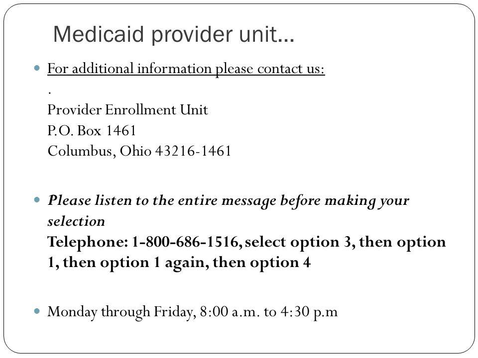 Medicaid provider unit…