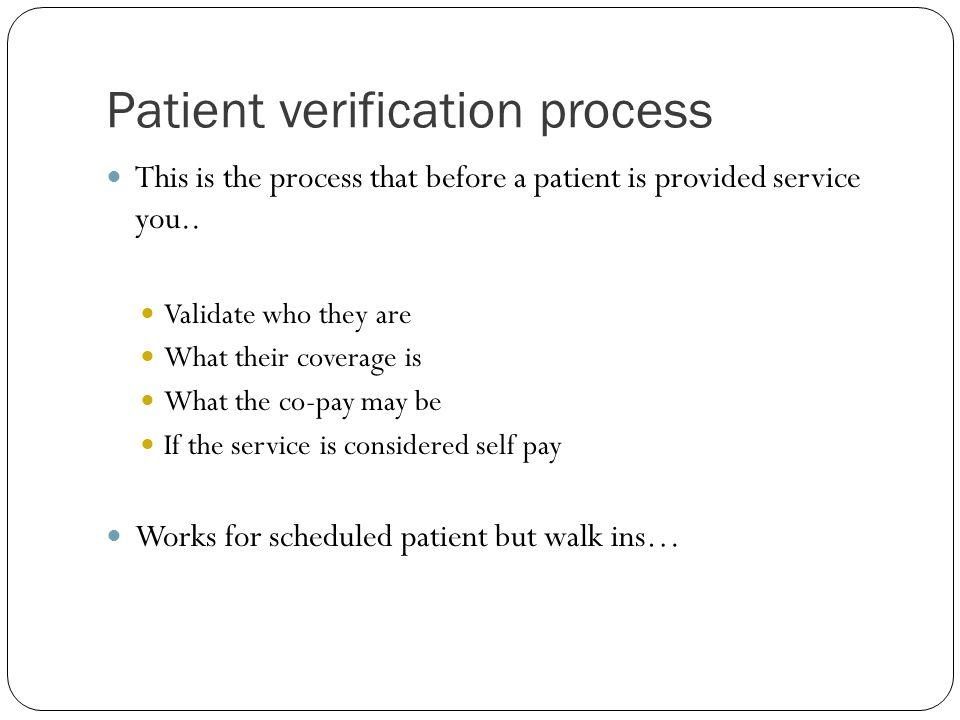 Patient verification process