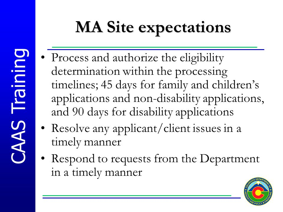 MA Site expectations