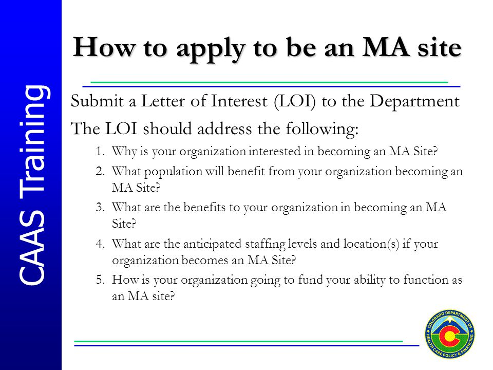 How to apply to be an MA site