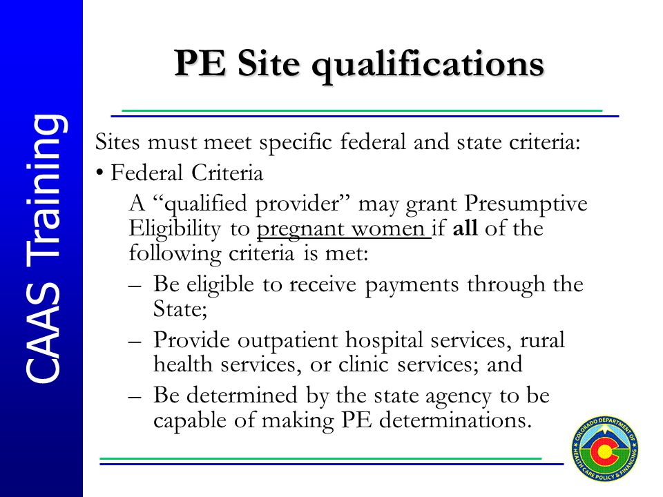 PE Site qualifications