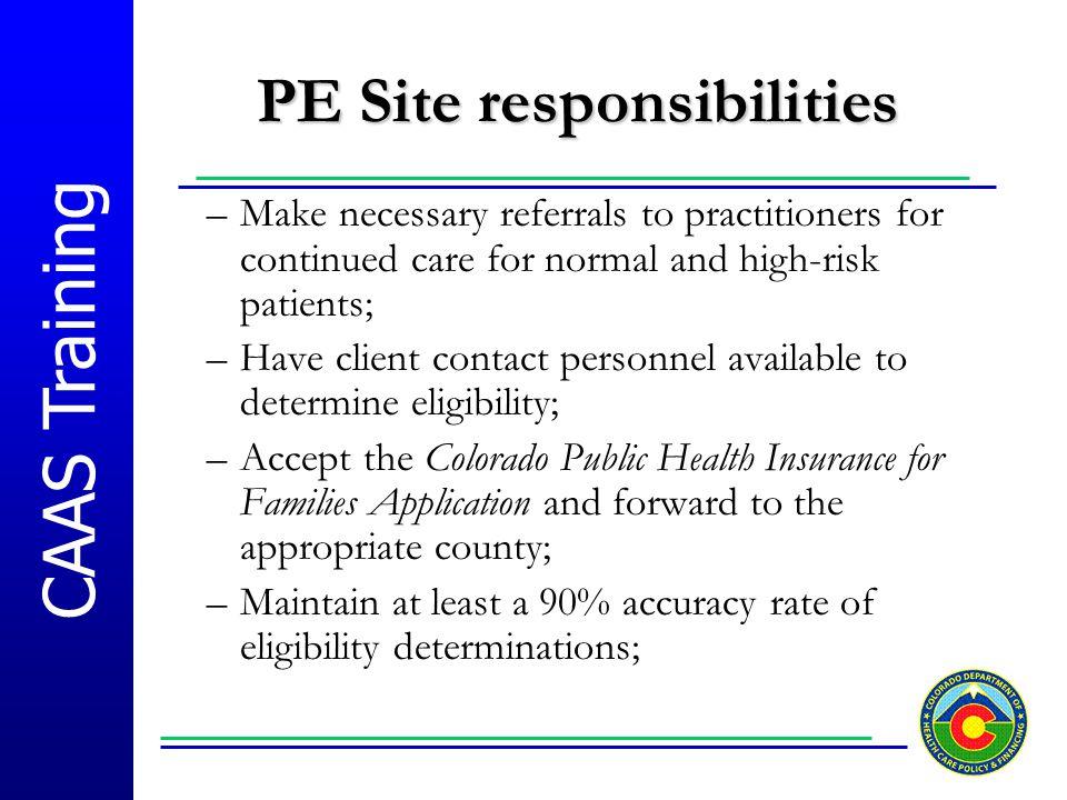 PE Site responsibilities