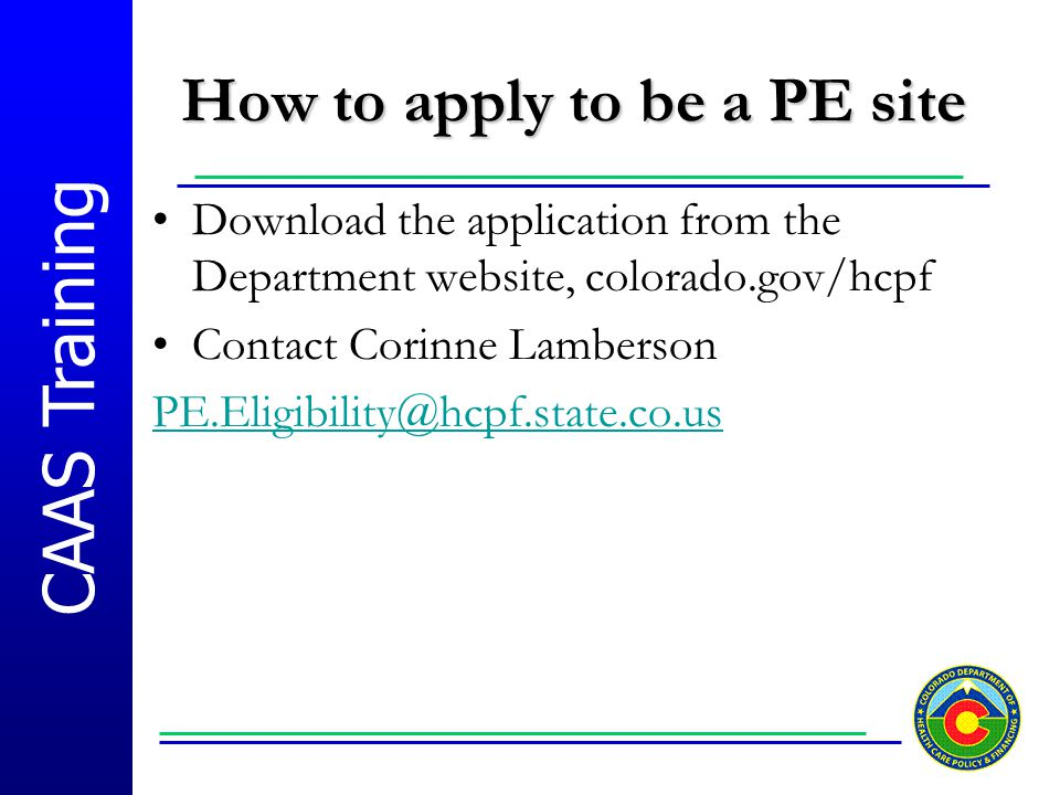 How to apply to be a PE site