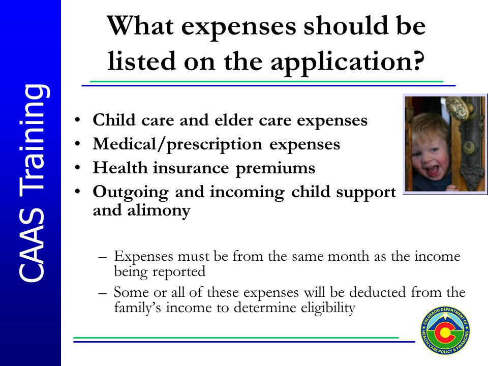 What expenses should be listed on the application