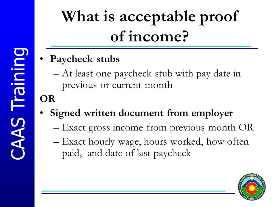 What is acceptable proof of income