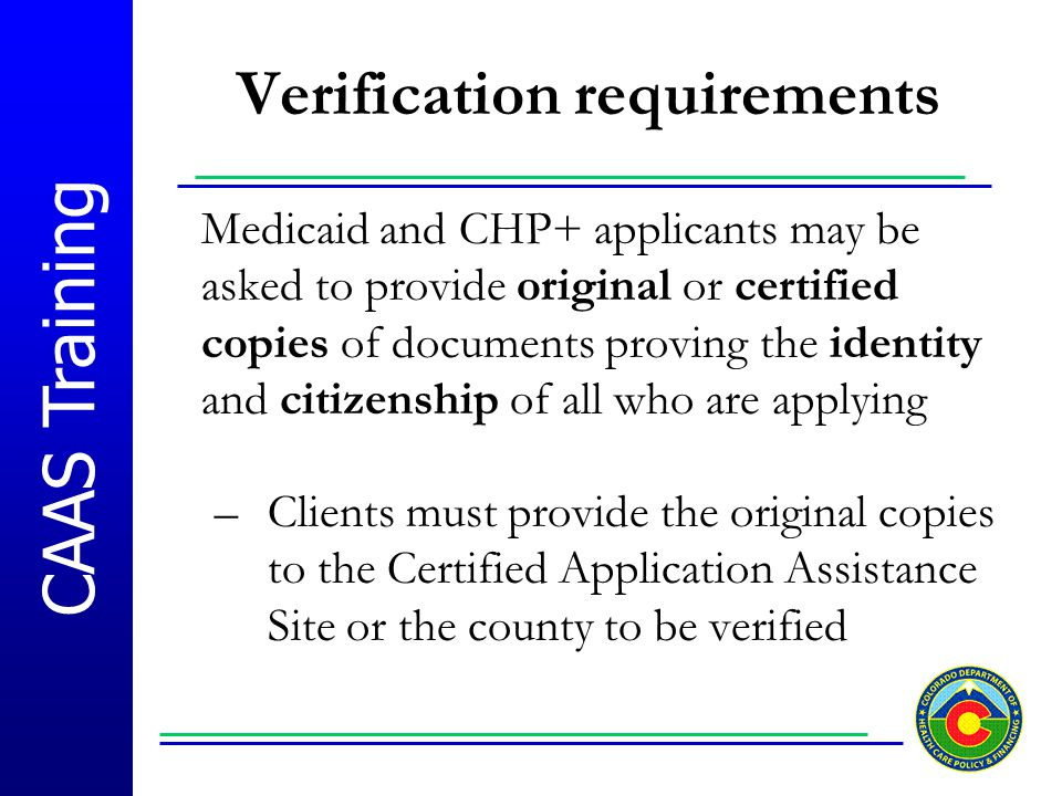 Verification requirements