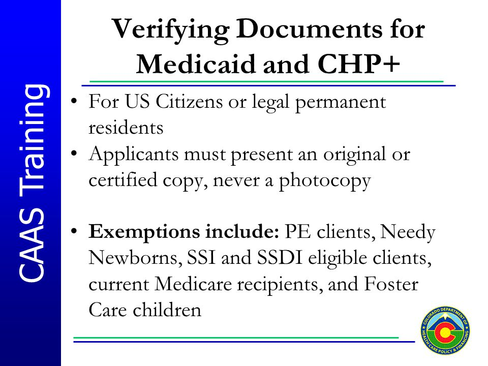 Verifying Documents for Medicaid and CHP+