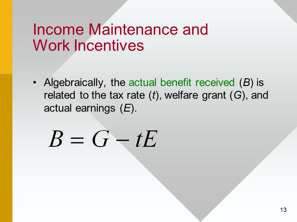 Income Maintenance and Work Incentives