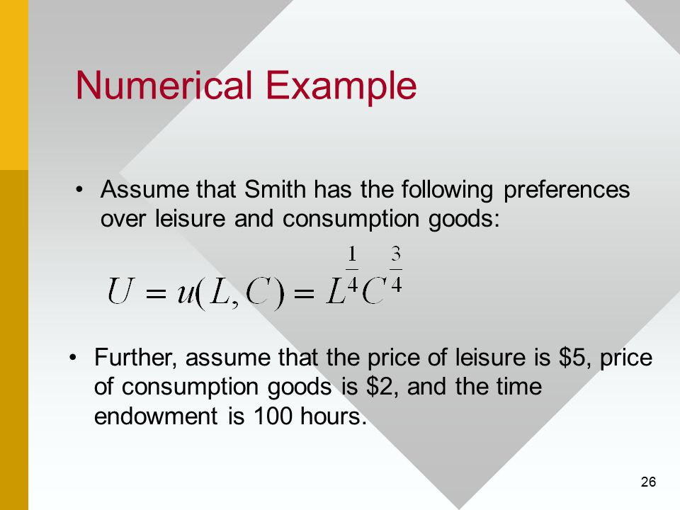Numerical Example Assume that Smith has the following preferences over leisure and consumption goods: