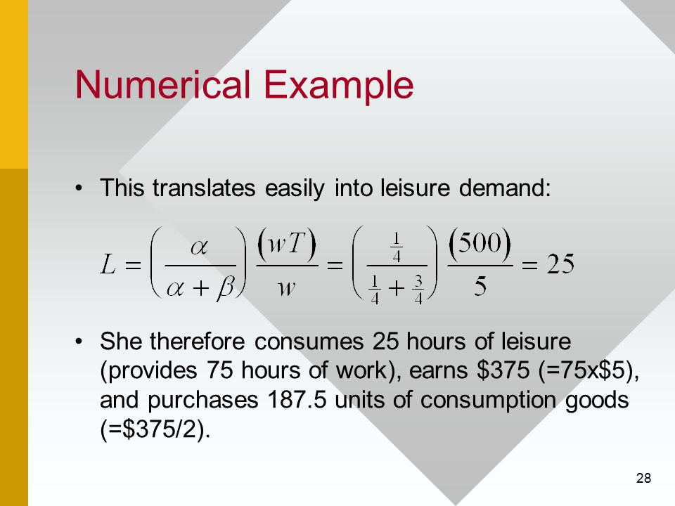 Numerical Example This translates easily into leisure demand: