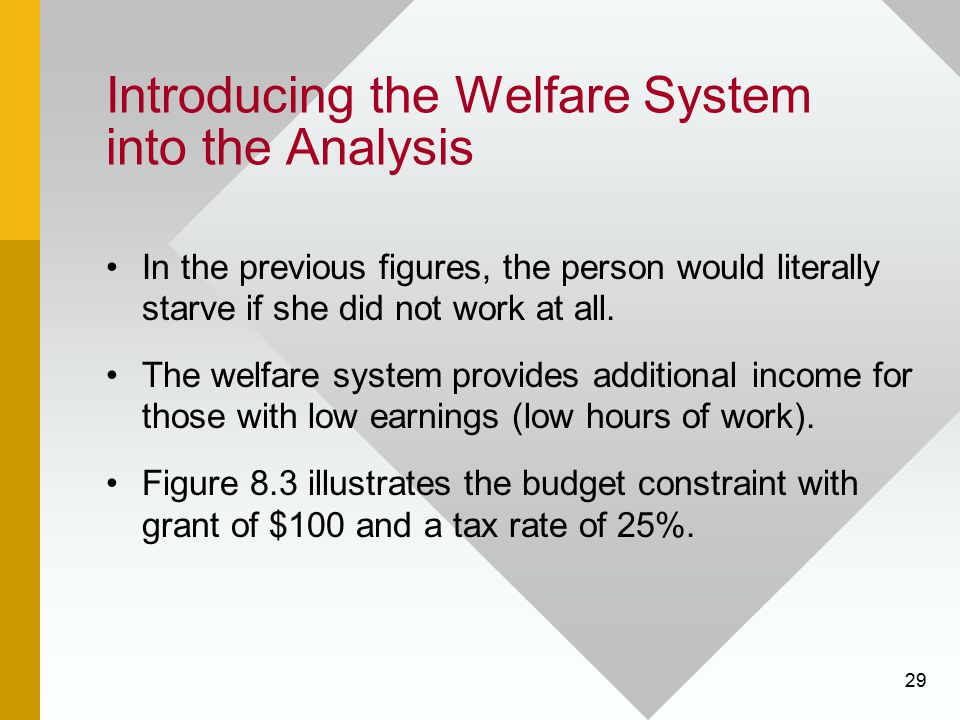 Introducing the Welfare System into the Analysis