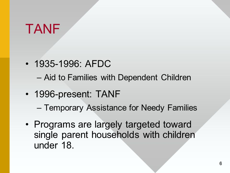 TANF 1935-1996: AFDC 1996-present: TANF