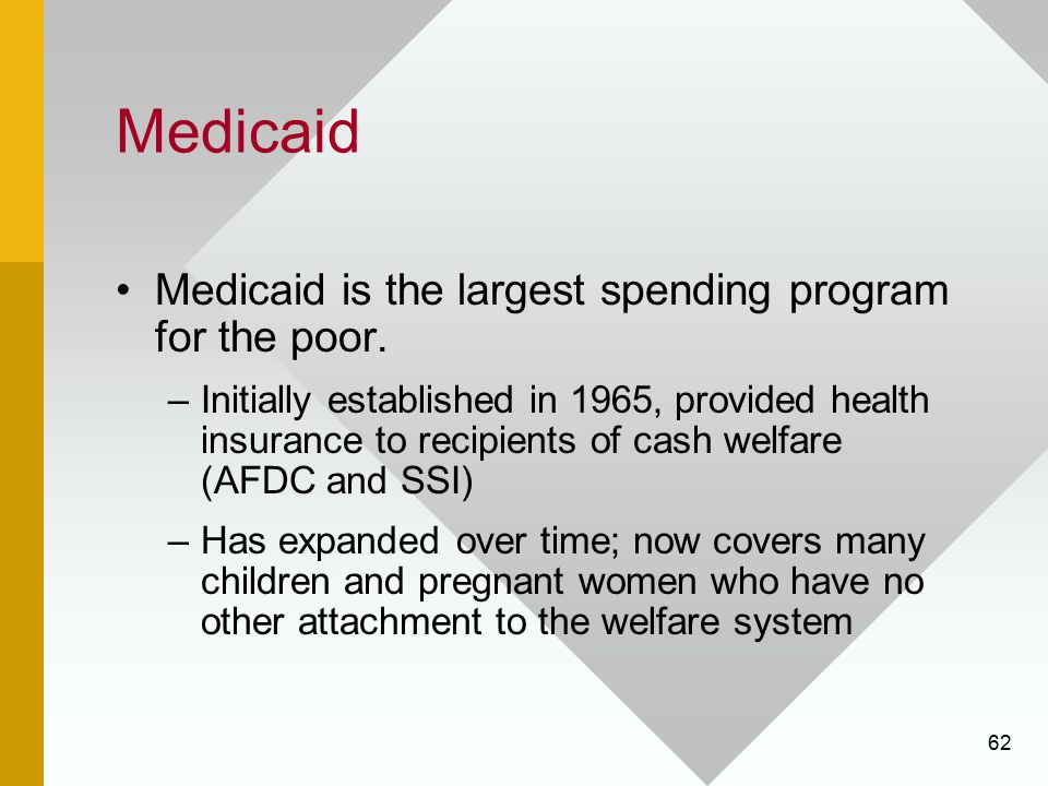 Medicaid Medicaid is the largest spending program for the poor.