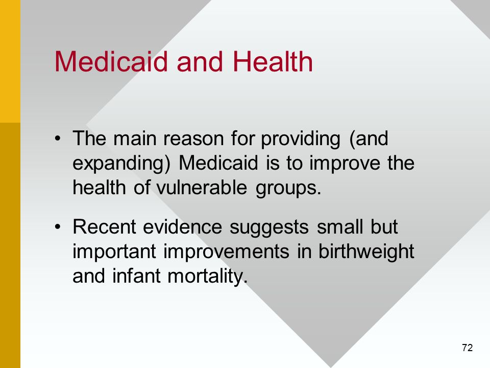 Medicaid and Health The main reason for providing (and expanding) Medicaid is to improve the health of vulnerable groups.