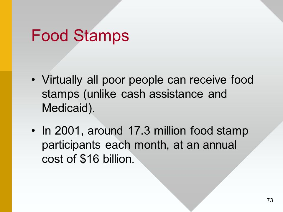 Food Stamps Virtually all poor people can receive food stamps (unlike cash assistance and Medicaid).