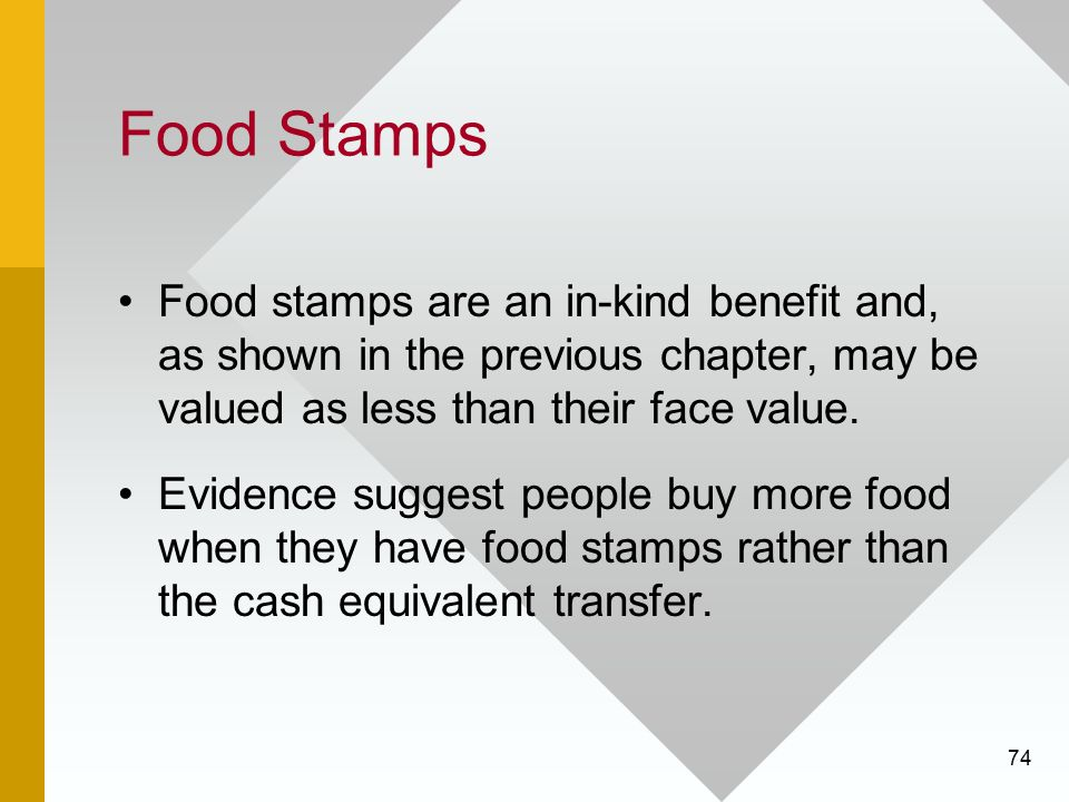 Food Stamps Food stamps are an in-kind benefit and, as shown in the previous chapter, may be valued as less than their face value.