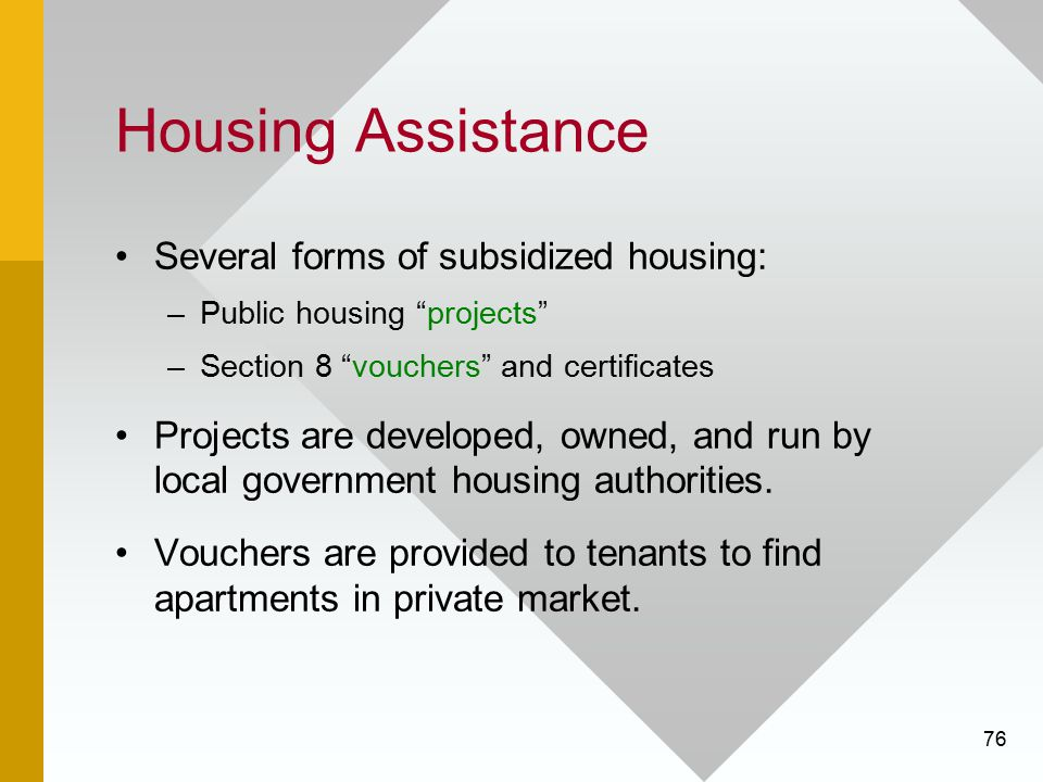 Housing Assistance Several forms of subsidized housing: