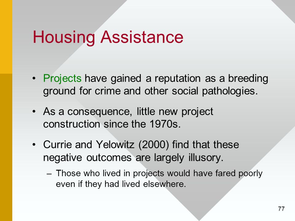 Housing Assistance Projects have gained a reputation as a breeding ground for crime and other social pathologies.