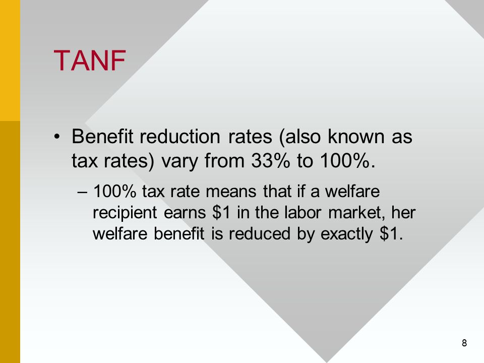 TANF Benefit reduction rates (also known as tax rates) vary from 33% to 100%.