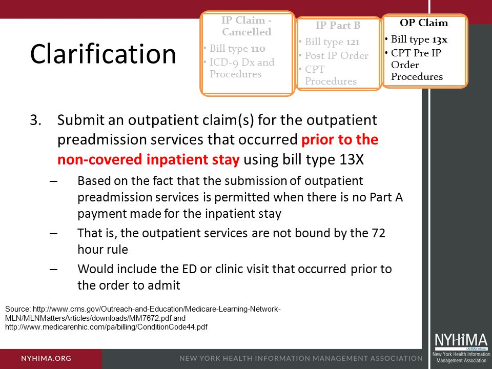 IP Claim - Cancelled Bill type 110. ICD-9 Dx and Procedures. IP Part B. Bill type 121. Post IP Order.
