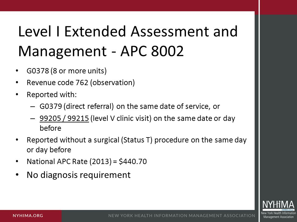 Level I Extended Assessment and Management - APC 8002