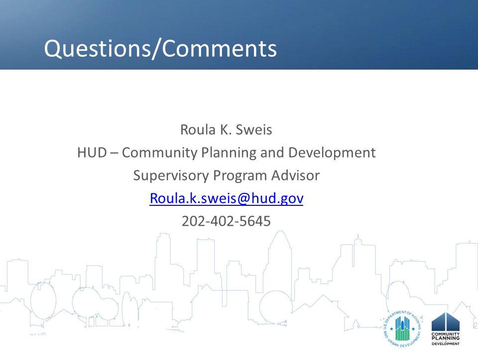 Questions/Comments Roula K.