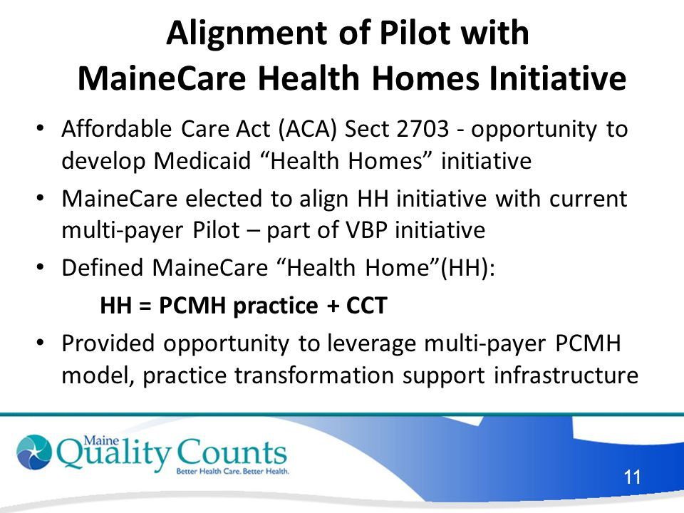 Alignment of Pilot with MaineCare Health Homes Initiative