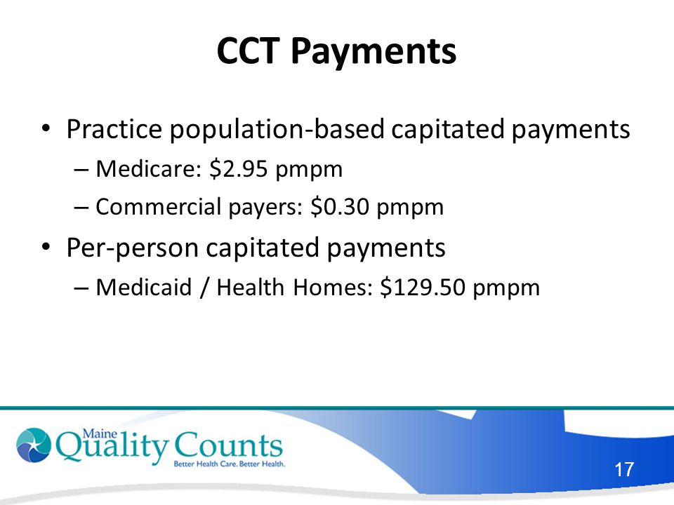 CCT Payments Practice population-based capitated payments