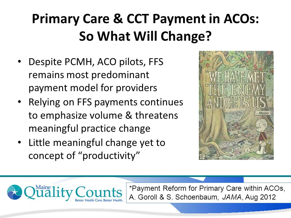 Primary Care & CCT Payment in ACOs: So What Will Change