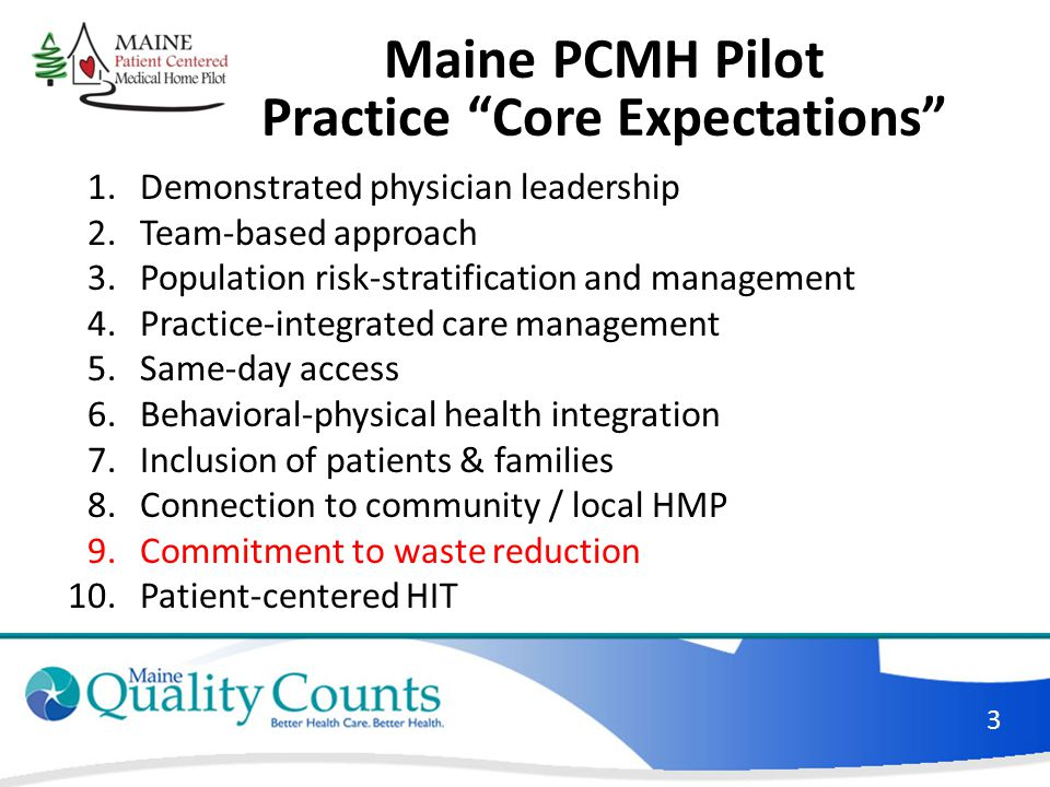 Maine PCMH Pilot Practice Core Expectations