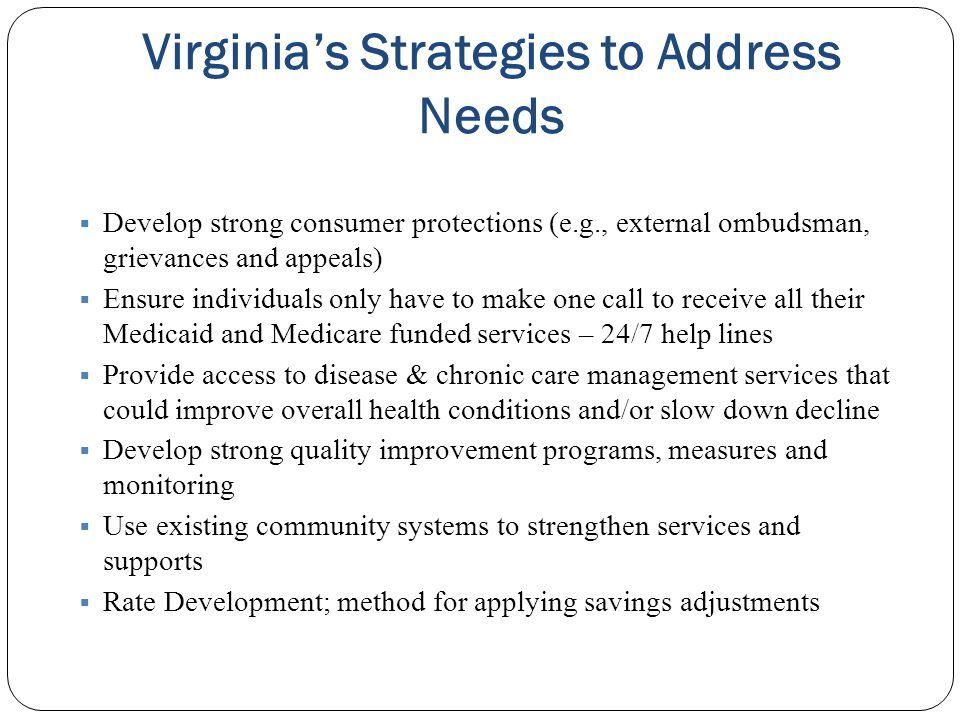 Virginia's Strategies to Address Needs