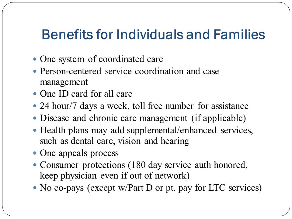 Benefits for Individuals and Families