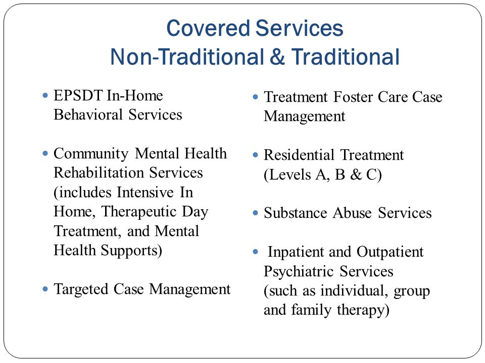 Covered Services Non-Traditional & Traditional