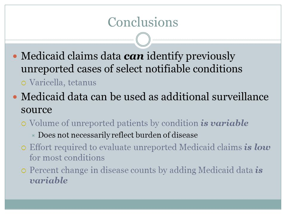 Conclusions Medicaid claims data can identify previously unreported cases of select notifiable conditions.