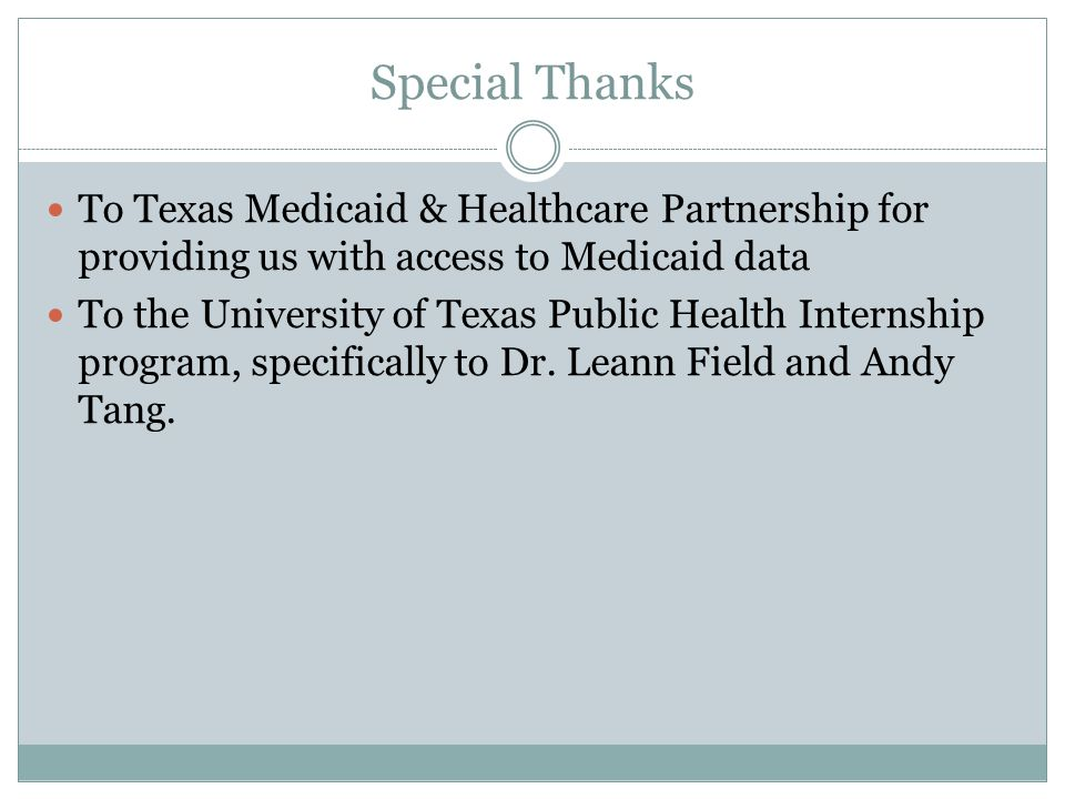 Special Thanks To Texas Medicaid & Healthcare Partnership for providing us with access to Medicaid data.