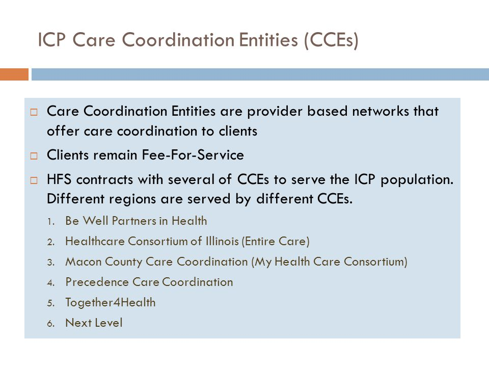ICP Care Coordination Entities (CCEs)