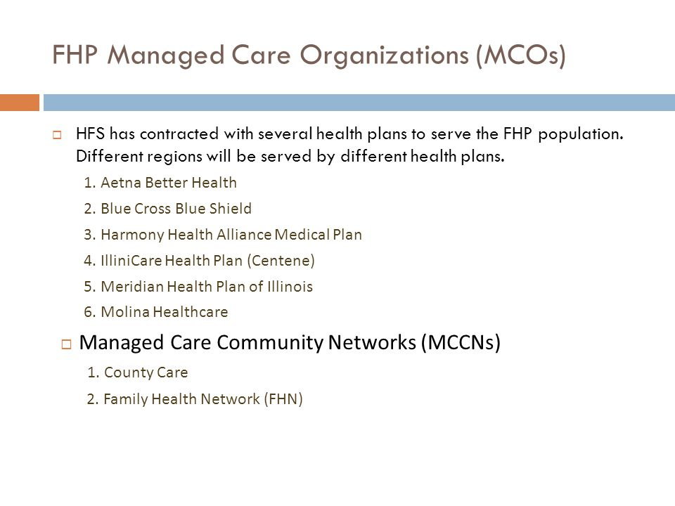 FHP Managed Care Organizations (MCOs)