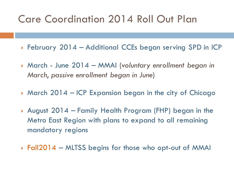 Care Coordination 2014 Roll Out Plan