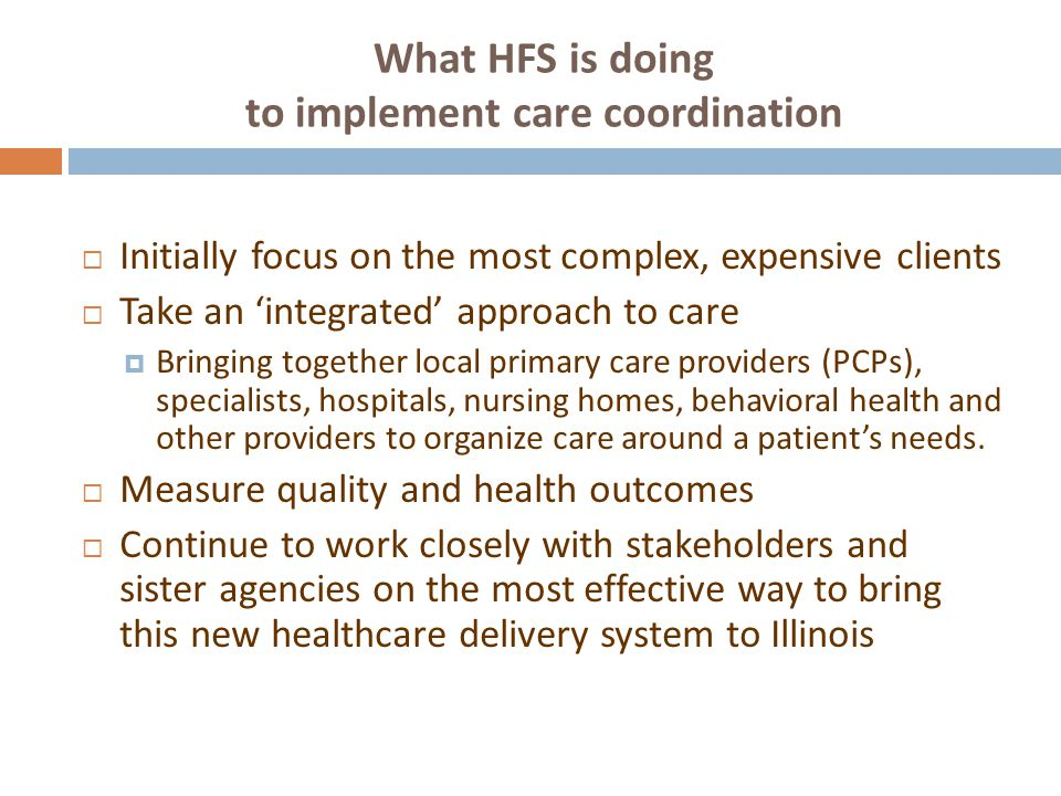 What HFS is doing to implement care coordination