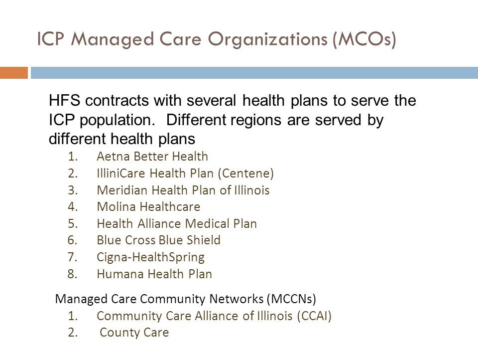 ICP Managed Care Organizations (MCOs)
