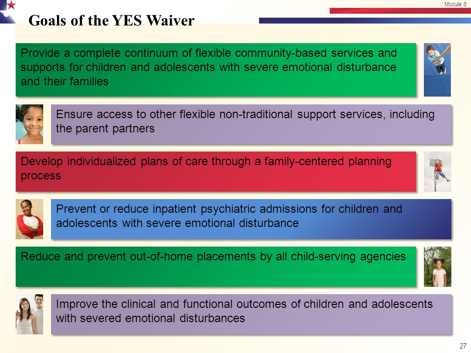 Module 6 4/13/2017. Module 6. Goals of the YES Waiver.