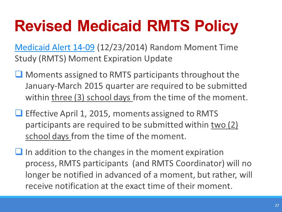 Revised Medicaid RMTS Policy